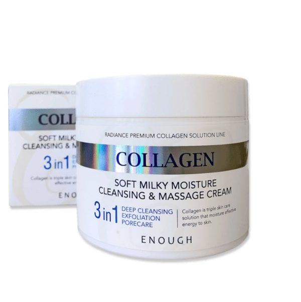 Очищающий массажный крем для лица и тела Enough Collagen Soft Milky Moisture Cleansing & Massage Cream 300ml