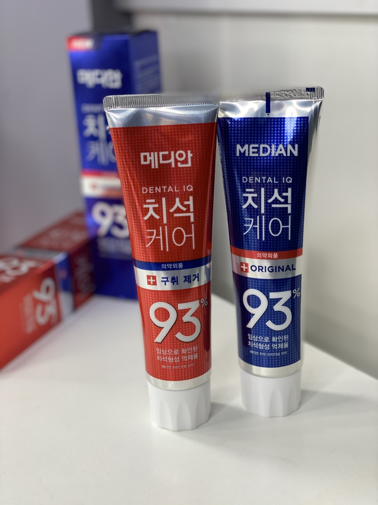 Набор из 2-х зубных паст Median Dental IQ 93% Remove Bad Breath 120g (красная упаковка) +  Dental IQ 93% Toothpaste Original (синяя упаковка) 120g