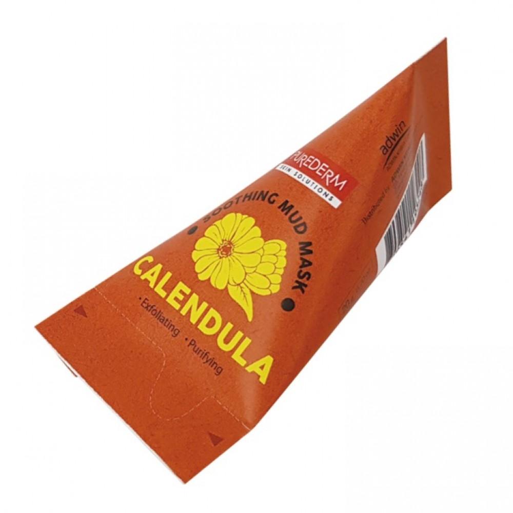 Маска для лица успокаивающая каолиновая с экстрактом календулы Calendula Soothing Facial Mud Mask PUREDERM 20ml