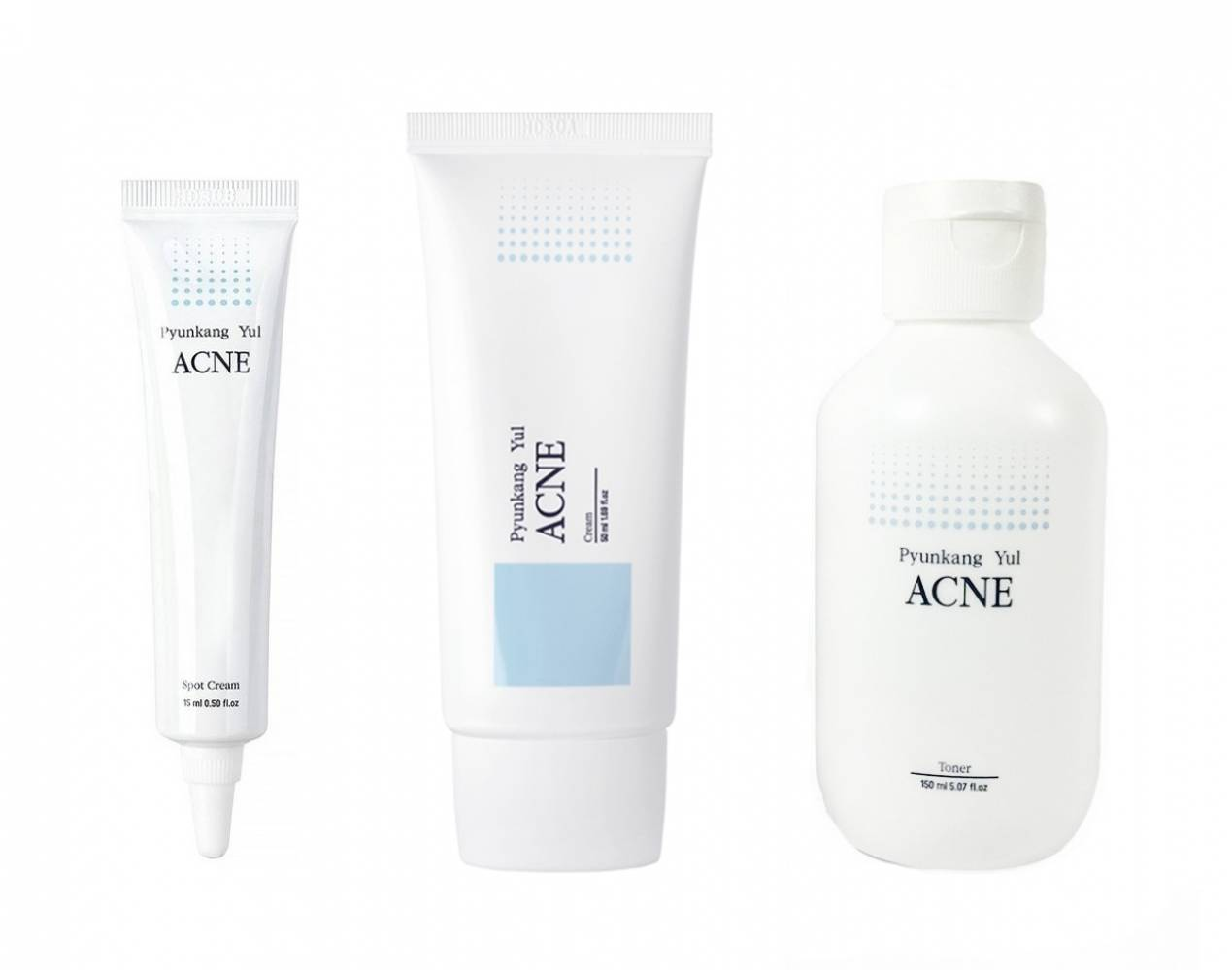 Набор Для Чувствительной И Проблемной Кожи Pyunkang Yul Stop Acne (Acne Spot Cream, Acne Cream, Acne Toner) 215ml