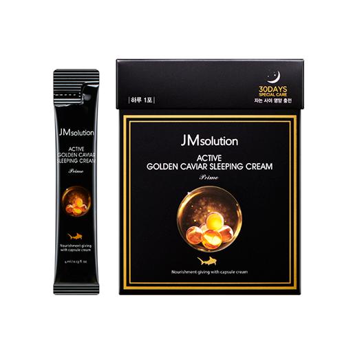 Крем ночной питательный с золотом и экстрактом икры JM solution Active Golden Caviar Sleeping Cream 4 ml