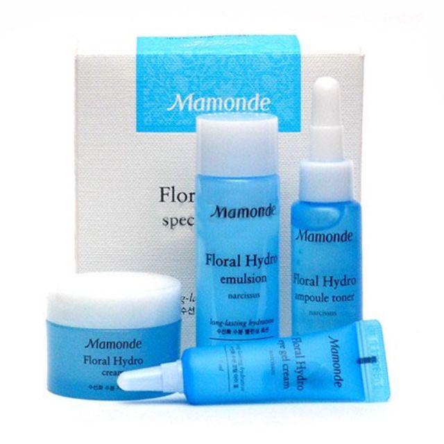 Набор: тонер, эмульсия, гель-крем для кожи вокруг глаз и крем для лица  увлажняющие Mamonde Floral Hydro Special Trial Kit 15ml*25ml*5ml*15ml