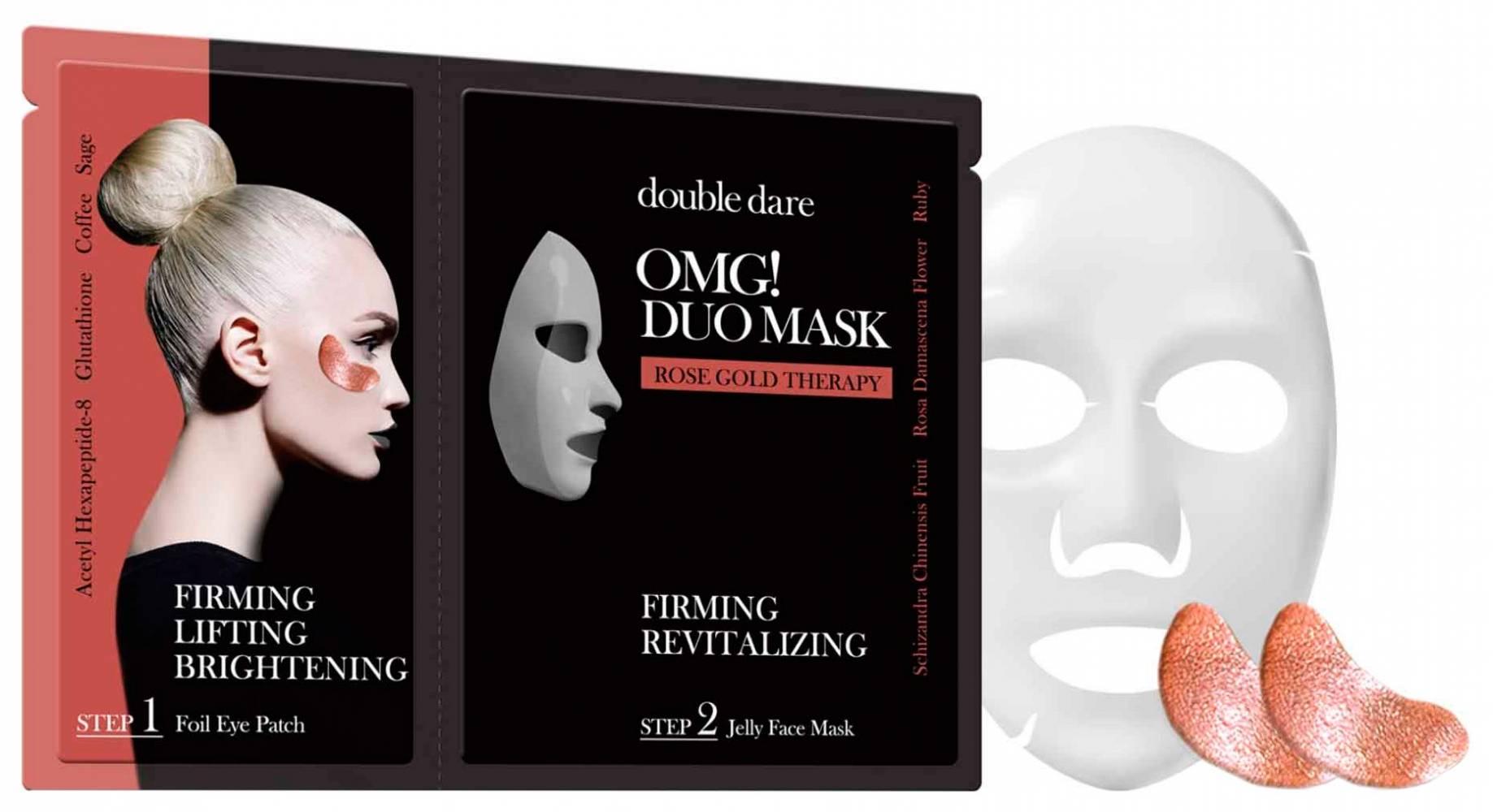 Комплекс из маски и патчей укрепляющий с рубиновой пудрой  Double Dare OMG! Duo Mask Rose Gold Therapy 29ml