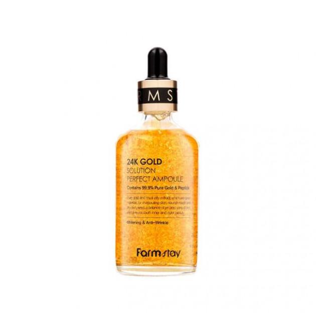 Сыворотка антивозрастная с пептидами FarmStay 24K Gold Solution Perfect Ampoule 100 ml