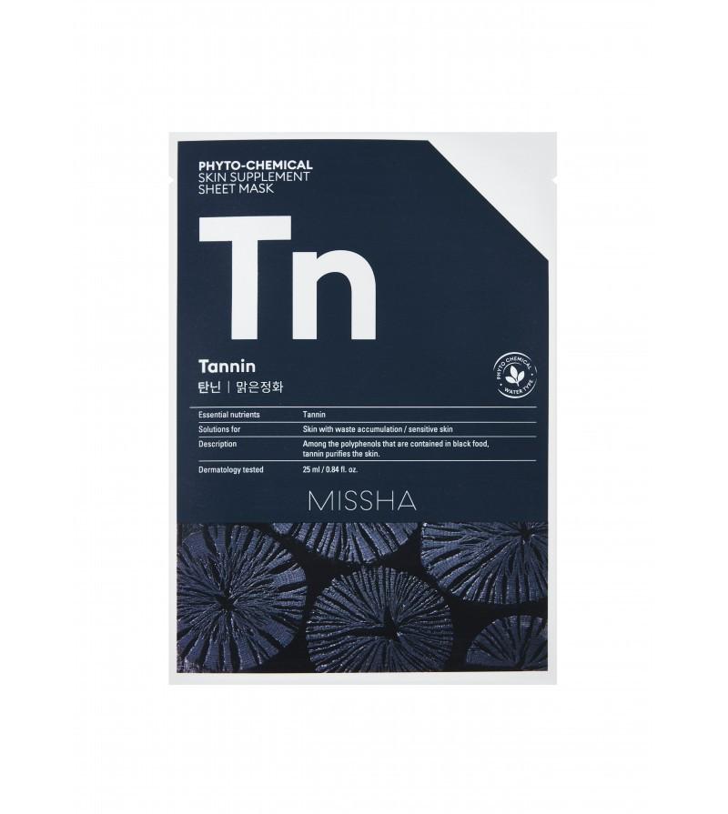 Тканевая фитохимическая маска с танином для глубокого очищения кожи Missha Phytochemical Skin Supplement Sheet Mask Tannin/Purifying 25ml