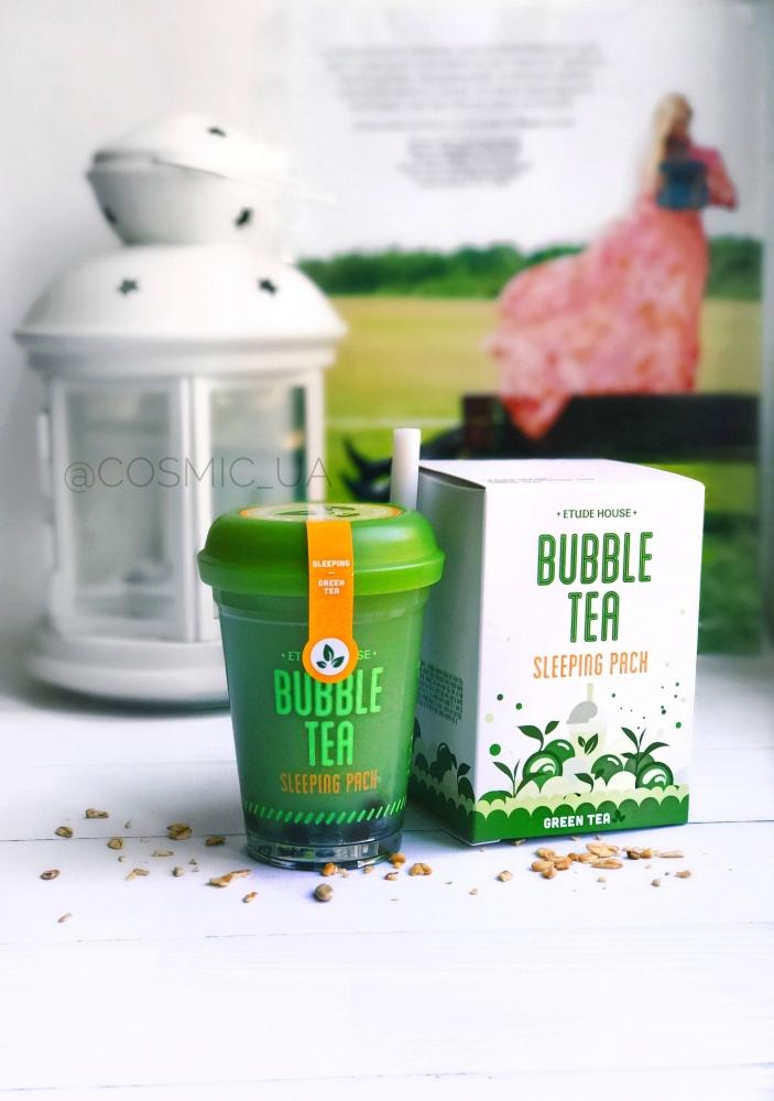 Ночная маска с экстрактом зеленого чая Etude House Bubble Tea Sleeping pack #Green Tea 100ml