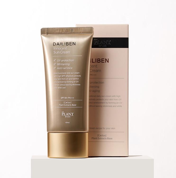 Солнцезащитный крем для лица с экстрактом кактуса и витаминным комплексом The Plant Base Dailiben Innocent Sun Cream SPF50+ PA+++ 40ml