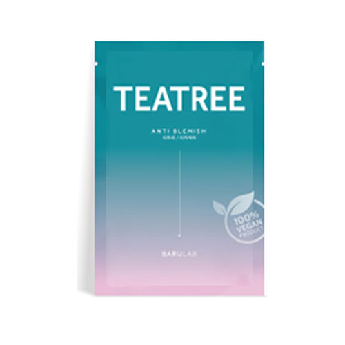 Себорегулирующая тканевая маска с экстрактом чайного дерева BARULAB The Clean Vegan Teatree Mask 23g