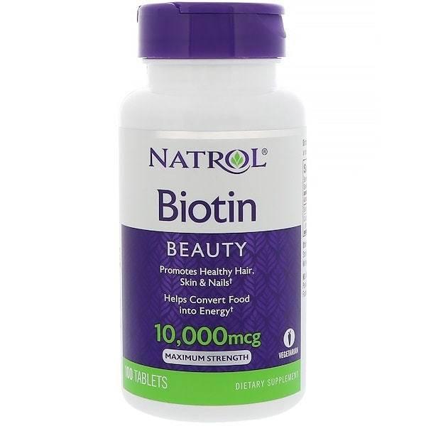 Биотин Для Здоровья Волос, Ногтей И Кожи Natrol  100 капсул