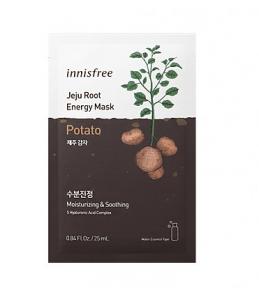 Innisfree Jeju Root Energy Mask 25ml*1ea #Potato. Увлажняющая и успокаивающая тканевая маска