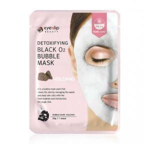 Маска тканевая пузырьковая очищающая с вулканическим пеплом для лица Eyenlip DETOXIFYING BLACK O2 BUBBLE MASK VOLCANO 20ml