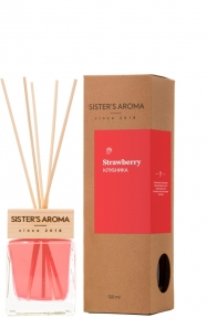 Аромадиффузор для дома и офиса с ароматом клубники Sister's Aroma Reed Diffuser «Strawberry», 120 ml