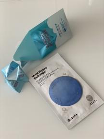 Набор: Маска тканевая увлажняющая для лица Dr.Jart+ Dermask Water Jet Vital Hydra Solution 25g и Скраб для очищения кожи лица с пищевой содой Etude House Baking Powder Crunch Pore Scrub (7gх24шт)