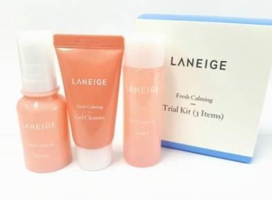 Набор из 3-х миниатюр для ухода за чувствительной кожей. Гель+тонер+сыворотка для лица Laneige Fresh Calming Trial Kit (3 Items) 50ml