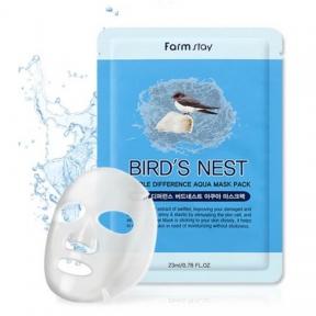 Маска тканевая для лица с экстрактом ласточкиного гнезда Farmstay Visible Difference Birds Nest Aqua Mask Pack 23ml