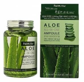 Сыворотка ампульная увлажняющая для успокоения кожи на основе экстракта алоэ FarmStay Aloe All-In One Ampoule 250ml