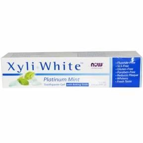 Органическая Отбеливающая Зубная Паста Мята Перечная Now Foods Platinum Mint Now Solutions Xyli-White 181мл