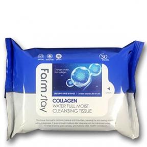 Очищающие салфетки с коллагеном FarmStay Collagen Water Full Moist Cleansing Tissue 30шт