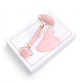 Набор гуа-ша ролик и скребок из розового кварца для лица Jade Roller