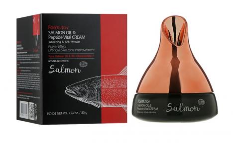 Крем для лица антивозрастной с маслом лосося и пептидами FarmStay Salmon Oil & Peptide Vital Cream 50ml