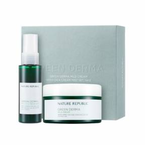 Набор из увлажняющего крема и сыворотки Nature Republic Green Derma Mild Cream SET With CICA SERUM Ver.1 (Cream 190ml+Serum 30ml)