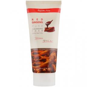 Пенка для умывания с экстрактом красного женьшеня для лица Farmstay Red Ginseng Pure Cleansing Foam 180ml
