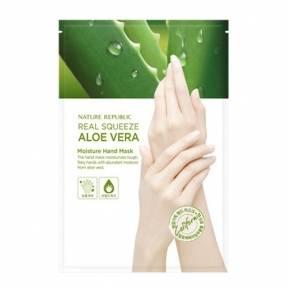 Увлажняющая маска-перчатки с экстрактом алоэ вера Nature Republic Real Squeeze Aloevera Moisture Hand Mask 14g
