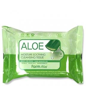 Салфетки очищающие, успокаивающие с экстрактом алоэ FarmStay Aloe Moisture Soothing Cleansing Tissue 30шт