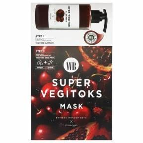 Маска 2-x ступенчатая с экстрактом граната для жирной кожи Wonder Bath Super Vegitoks Mask Pack-Red 28 ml
