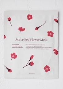 Маска тканевая для лица осветляющая с омолаживающим эффектом на основе экстрактов цветков абрикоса и комплекса аминокислот Hyggee Active Red Flower Mask 30ml