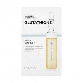 Маска Для Лица Отбеливающая С Глутатионом MISSHA Mascure Whitening Solution Sheet Mask Glutathione 27ml