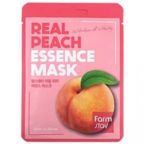 Маска тканевая освежающая с экстрактом персика для лица FARMSTAY REAL PEACH ESSENCE MASK 23ml