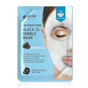 Маска тканевая очищающая угольная для лица Eyenlip DETOXIFYING BLACK O2 BUBBLE MASK CHARCOAL 20ml