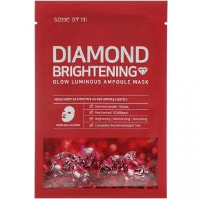 Маска ампульная тканевая для лица с омолаживающим эффектом с алмазным порошком Diamond Brightening Calming Glow Luminous Ampoule Mask Some By Mi 25ml