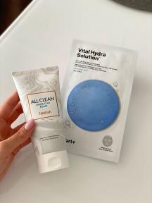 Набор: Пенка очищающая для лица Heimish All Clean White Clay Foam 150ml и маска тканевая увлажняющая для лица Dr.Jart+ Dermask Water Jet Vital Hydra Solution 25g