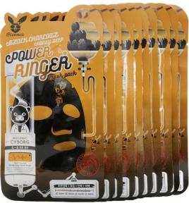 Набор тканевых масок питательных очищающих с древесным углем и медом Elizavecca Black Charcoal Honey Deep Power Ringer Mask Pack 23ml х10 шт