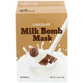 Маска тканевая с экстрактом какао для лица G9skin Milk Bomb Mask, Chocolate 21ml