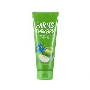 Крем для тела поддерживающий упругость с экстрактом зелёного яблока Farms Therapy Sparkling Body Cream Green Apple 200ml