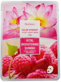 Маска Увлажняющая Тонизирующая С Экстрактом Малины И Лотоса Deoproce Color Synergy Effect Sheet Mask Pink