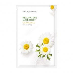 Успокаивающая тканевая маска с экстрактом ромашки Nature Republic Real Nature Mask Sheet Chamomile 23ml