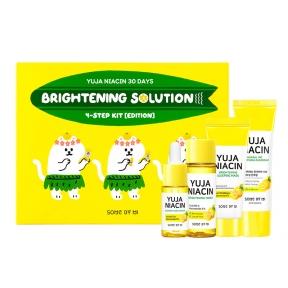 Набор миниатюр для лица осветляющих с юдзу Some by Mi Yuja Niacin 30 Days Brightening Solution 4 – Step Kit Limited Edition (Тонер + Сыворотка + Ночная маска + Солнцезащитный крем) 95ml