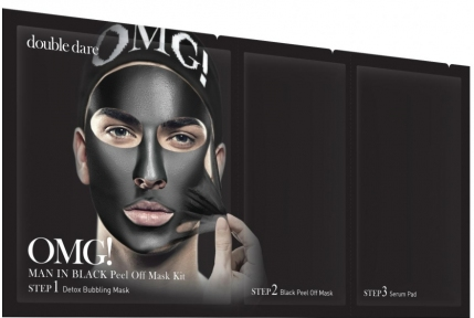 Комплекс мужских масок трехкомпонентный с коллагеном  Double Dare OMG! Man In Black Peel Off Mask Kit