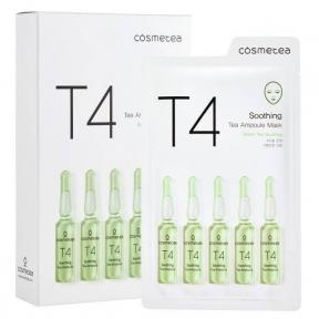 Успокаивающая тканевая маска с экстрактом зеленая чая и имбиря Cosmetea T4 Soothing Tea Ampoule Mask
