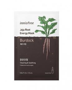Innisfree Jeju Root Energy Mask 25ml*1ea #Burdock. Очищающая и успокаивающая тканевая маска с экстра