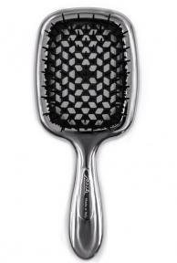 Расческа для волос лимитированная линейка серебристая с чёрным Janeke Superbrush