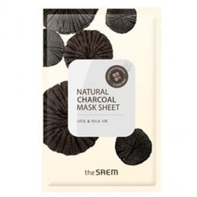 Маска тканевая очищающая с порошком древесного угля The Saem Natural Charcoal Mask Sheet 21ml