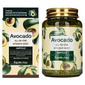 Сыворотка многофункциональная с экстрактом авокадо для лица FarmStay Avocado All-In-One Intensive Moist Ampoule 250ml