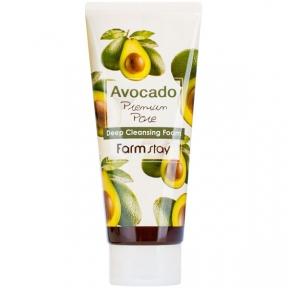 Пена для умывания смягчающая с экстрактом авокадо Farmstay Avocado Premium Pore Deep Cleansing Foam 180ml