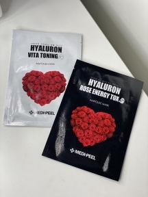 Набор тканевых увлажняющих масок Medi-Peel Hyaluron Vita Toning Ampoule Mask 25ml + Hyaluron 100 Rose Energy Tox 25ml