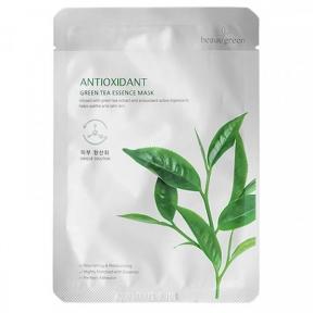 Маска тканевая антиоксидантная с экстрактом зеленого чая для лица BeauuGreen Antioxidant Green Tea Essence Mask 23ml